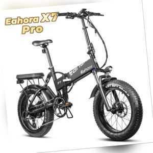 "Eahora X7 PRO  ALU E-Bike 20"" Faltrad Elektrofaltrad Fat Tire Fatbike Akku  48V"