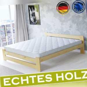 Bett Holzbett Bettgestell Massivholz Weiß Kiefer Doppelbett