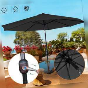 Ampelschirm Sonnenschirm 3M Dunkelgrau mit Handkurbel Gartenschirm Außen Schirm