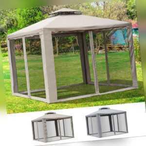 Outsunny Gartenpavillon Pavillon Gartenzelt Partyzelt mit 4 Seitenwänden 3 x 3 m