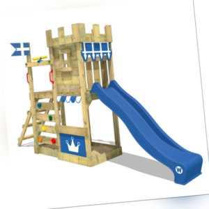 WICKEY Spielturm Spielhaus CannonFlyer - Ritterburg mit blauer Rutsche & Plane