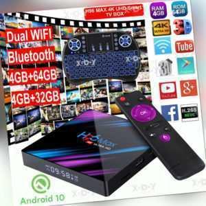H96 MAX Android 10.0 OS Keyboard 5G WiFi BT TV BOX USB3.0 H.265 UHD Media Player