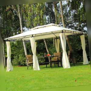 Outsunny Pavillon Gartenpavillon Partyzelt Gartenzelt Festzelt Doppeldach 3x4 m