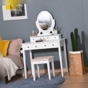 HOMCOM 4-Drawer Dressing Table & Stool Set Mirror Cushioned Seat Wood Legs White