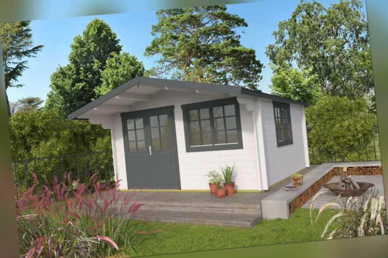 34 mm Gartenhaus Aktion AL5 incl. Schindeln Gerätehaus 4x4 m Blockhaus Holzhaus