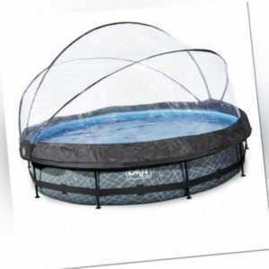 EXIT Stone Pool ø360x76cm mit Abdeckung und Filterpumpe grau 30321200EX