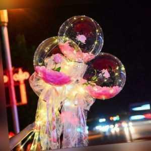 LED Balloon Rose Bouquet Luminous Christmas Decorate DIY Kit Gift d d