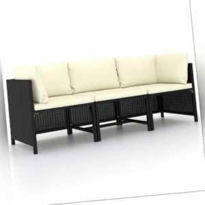 vidaXL Gartensofa 3-Sitzer mit Auflagen Schwarz Poly Rattan Lounge Sofa Couch