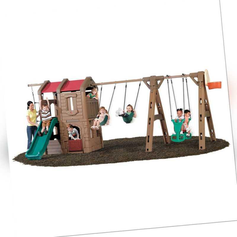 Kinder-Spielanlage Spielturm Rutsche Kletternetz Schaukeln Step2 300x550x220cm