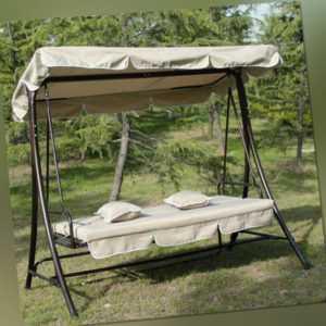 Gartenmöbel Hollywoodschaukel  Gartenschaukel mit Bettfunktion G-AO-Creme
