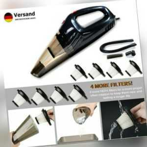 12V Hand-Staubsauger Nass & Trocken 120W Akkusauger +4 Filter Für Auto Büro Haus