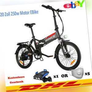 Elektrofahrrad Klapprad 20''EBike City/Mountainbike 250W-Motor Pedelec Schwarz