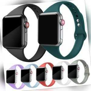Ersatz Armband Apple Watch Silikon Series 1 2 3 4 5 Smartwatch 38 40 42 44 Slim