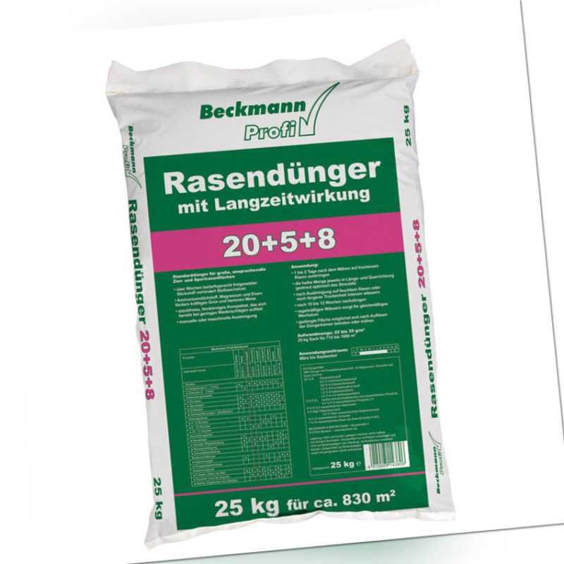 25 kg Beckmann Profi Rasendünger 20+5+8 mit Sofortwirkung und Langzeitwirkung