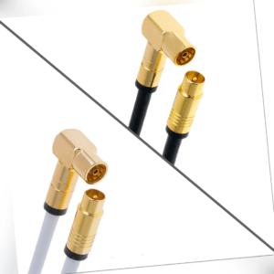 Antennenkabel Digital TV Kabel 135db Koax Stecker 90° Buchse VERGOLDET HD UHD