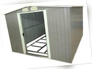 Gerätehaus grau, 2590 x 2570 x 1775, Gartenschuppen Metall, Schuppen