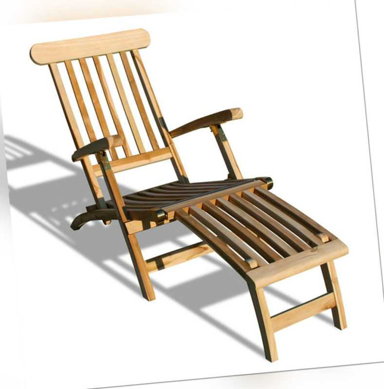 KMH® Teak Deckchair Sonnenliege Gartenliege Relaxliege Liegestuhl Gartenmöbel