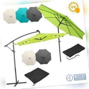 Sonnenschirm Ampelschirm LED Solar Gartenschirm Kurbelschirm Strandschirm Ø 3m