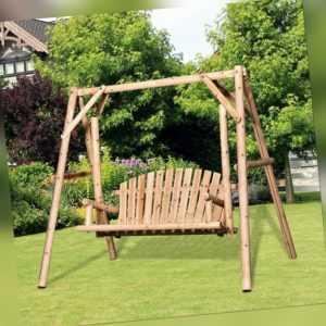 Outsunny Hollywoodschaukel Gartenschaukel 2-Sitzer Schaukelbank Massivholz Natur