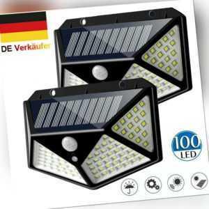 2x 100LED Solarlampe Solarleuchte Bewegungsmelder Außen Fluter Sensor Strahler