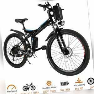 Elektrofahrrad Klapprad E-Bike Mountainbike 26 Zoll Faltrad Fahrrad 350W@Winice