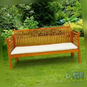 Gartenbank Holz massiv Holzbank Sitzbank Bank Parkbank 3-Sitzer Auflage Creme
