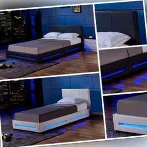 HOME DELUXE LED Lederbett Bettgestell Lattenrost Kunstlederbett Bett Polsterbett