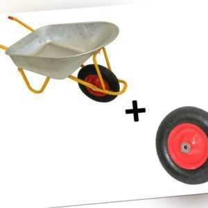 Profi Schubkarre 200 kg 120 L mit Ersatzrad Bau Garten Luftrad Transport Karre