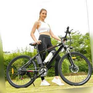 26 Zoll E-bike Elektrofahrrad Mountainbike E-MTB 21-Gäng Shimano Pedelec 250W DE
