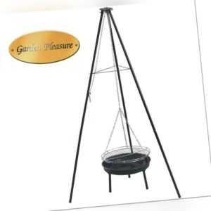 XL Schwenkgrill mit Feuerschale Dreibein Holzkohlegrill Rund Grill Standgrill