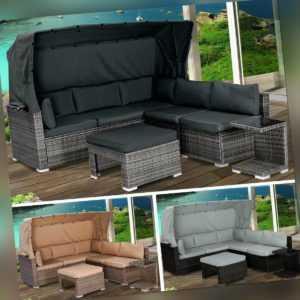 Sonneninsel Lounge Insel Gartenmöbel Sitzgruppe Poly Rattan Garten Liege BRAST