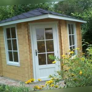 5-Eck Gartenhaus aus Holz, 2.6x2.6M 5-Eckige Blockhaus, 40mm, Leer EB40021F18