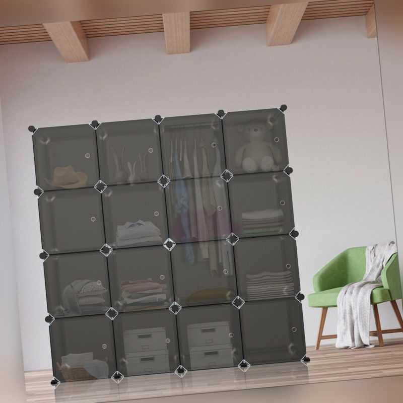 DIY Kleiderschrank Steckkleiderschrank Portable Garderobe 16 Würfel mit Türen