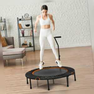 φ120 cm Mini Trampolin faltbar Fitness Trampolin mit Griff Kindertrampolin 150kg