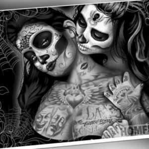 Malen nach Zahlen - Skull - Tattoo Frauen - schwarz 20 x 30 cm