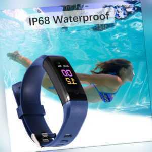 Armband Fitness Tracker Uhr Pulsmesser Aktivitätstracker Sportuhr Wasserdicht DE