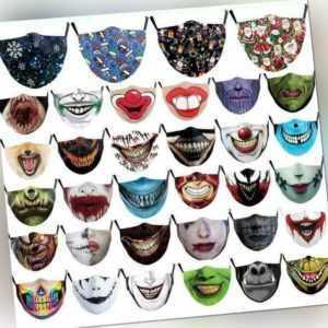 Weihnachten Gesichtsmaske Santa Elk Drucken Cosplay Winddichte Waschbare Maske