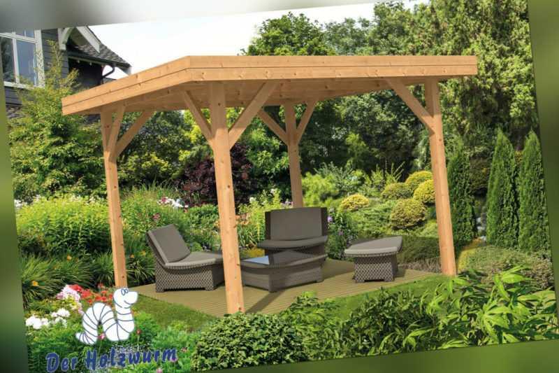 Pavillon Kreta 2 Gartenlaube 365 x 365 cm Pfostenstärke 11,5 x 11,5 cm Holz Neu