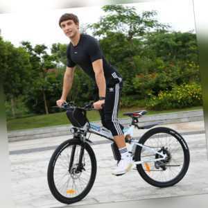 "Elektrofahrrad Mountainbike Klapprad 26"" E-Bike Citybike Pedelec 350W Motor Weiß"