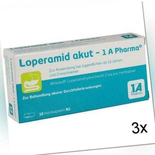 3x LOPERAMID akut-1A Pharma Hartkapseln 10 St PZN: 1338066