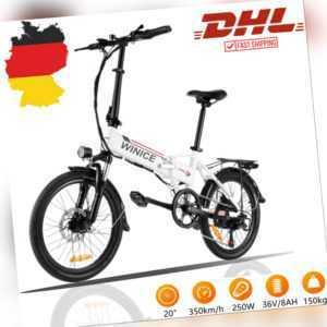 """Elektrofahrrad 20"""" E-Bike Klapprad Elektro PedelecE citybike 36V 250W Motor NEU"""