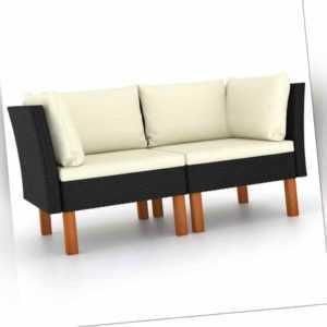 vidaXL 2x Eukalyptusholz Massiv Ecksofa Poly Rattan Gartensofa Sofa Lounge
