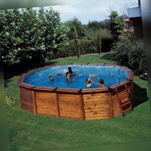 Ovalbecken Set Natur Holz 790x465x120cm (SW:0,45 IA:0,4)