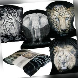 Kuscheldecke Tiermotiv 150x200cm Flauschig Wohndecke Tiere Löwe