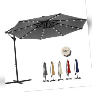 SONGMICS Sonnenschirm Ø 300cm Ampelschirm mit LED Kurbelschirm 32 LED-Lämpchen