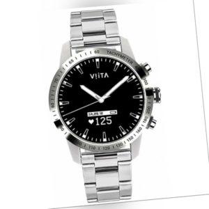 Viita Watch Hybrid HRV Tachymeter 45mm Smartwatch Steel - Silver...