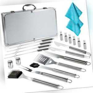 Masthome 18-teiliges BBQ Grillwerkzeug Koffer,Edelstahl Grillbesteck Set mit