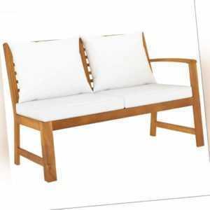 vidaXL Akazie Massiv Gartenbank 114,5cm mit Creme Kissen Sitzbank Sofa Bank