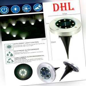8/4x LED Solarleuchte Bodenstrahler Außen IP65 Gartenleuchten Garten Solarlampen