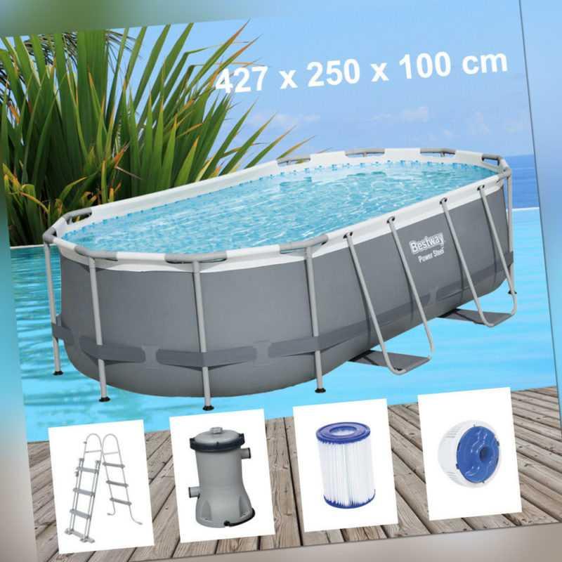 Bestway Power Steel 427x250x100cm Pool Filterpumpe und Zubehör Gartenpool 56620